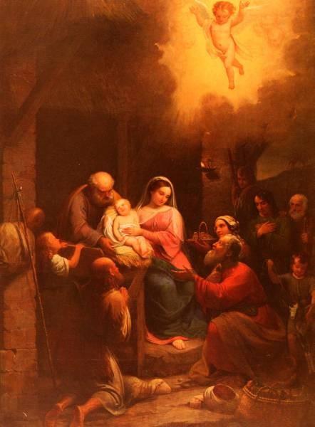 La Visita De Pastori Al bambino Gesu Nel Presepio